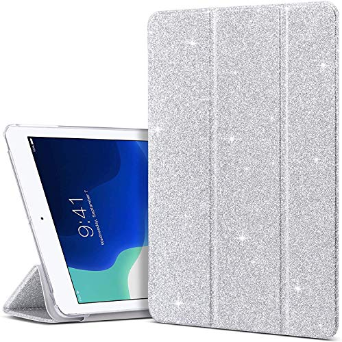 ULAK iPad 9.7 inch 2018/2017 Case, Slim Lightweight Smart Case with Auto Wake & Sleep Function Translucent Stand Cover Case for Apple iPad 9.7 5th/6th Generation - Sparkly Silver