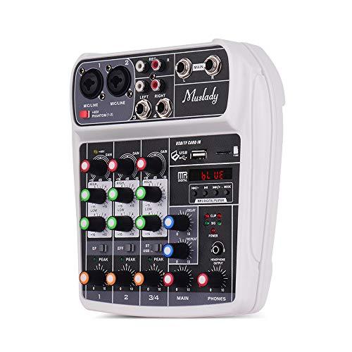 Muslady Mesa de mezclas (tarjeta de sonido compacta, mezclador de audio digital de 4 canales, entrada de MP3 USB + alimentación fantasma de 48 V, transmisión en directo de karaoke), Blanco
