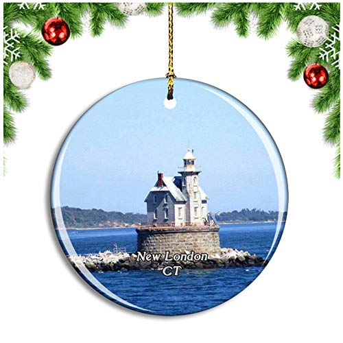 Weekino New London Lighthouse Connecticut USA Christmas Ornament Xmas Tree Decoration Hanging Pendant Travel Souvenir Collection Double Sided Porcelain 2.85 Inch