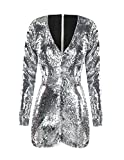 ASMAX HaoDuoYi Womens Mardi Gras's Sparkly Sequin V Neck Party Clubwear Romper Jumpsuit Silver