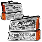 DNA Motoring HL-OH-CS03-4P-CH-AM Chrome Amber Headlights Compatible with 2003-2006 Chevy Silverado/Avalanche