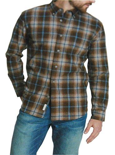 Weatherproof Vintage Mens Flannel Long Sleeve Button Down Shirt (XXL, Brown)