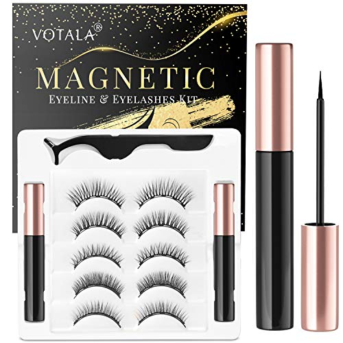 Votala Magnetic Eyelashes and Magnetic Eyeliner Kit, 5 Pairs of Different Styles Reusable 3D Magnetic Eyelashes with 2 Special Magnetic Eyeliners and Tweezers, with Natural Look (Natural)