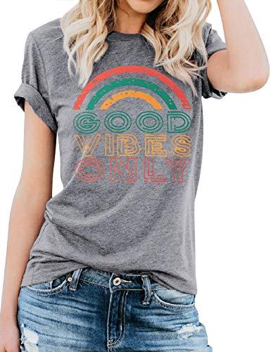 Dresswel Damen Good Vibes Only Brief drucken T-Shirt Kurzarm mit Rundhalsausschnitt Regenbogen Grafikdruck Oberteile Hemd Tops