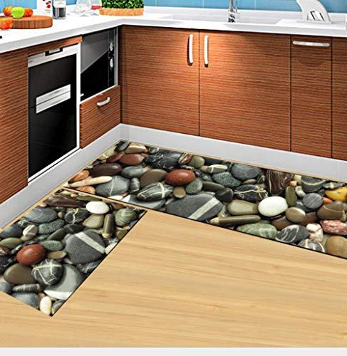 Alfombra de cocina antifatiga, 2 piezas, antideslizante, para la cocina, acolchada, cómoda, resistente al agua, repele la suciedad, alfombra para baño, entrada, piedra, 60 x 90 cm + 60 x 180 cm