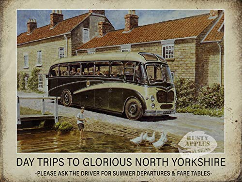 Vintage vakantie bus reis North Yorkshire Metal Sign Mancave Home Decor