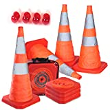 """4PC 27.6"""" Collapsible Traffic Cones with Nighttime LED Lights Pop up Safety Road Parking Cones Weighted Hazard Cones Construction cones Fluorescent Orange w/2 Reflective Silver Strips Collar"""