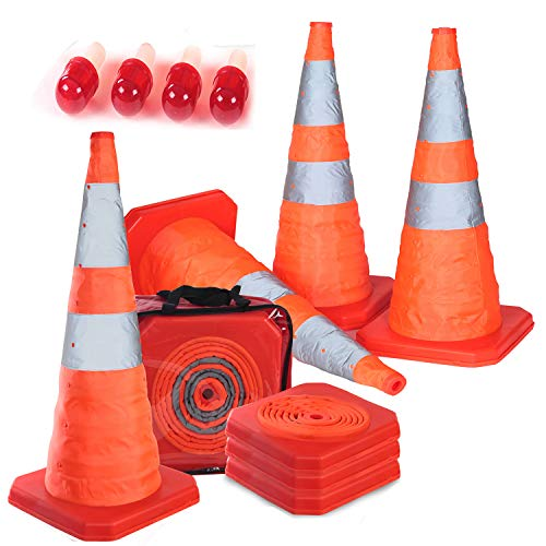 "4PC 27.6"" Collapsible Traffic Cones with Nighttime LED Lights Pop up Safety Road Parking Cones Weighted Hazard Cones Construction cones Fluorescent Orange w/2 Reflective Silver Strips Collar"