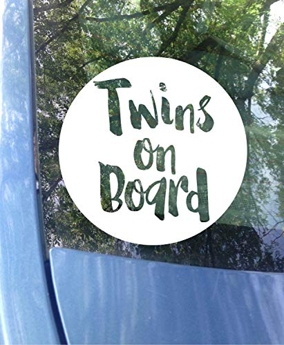 Yilooom Twins on Board Window Decal   Car Decal   New Baby Baby on Board Sticker   Twins   Twin Baby Gift   Twinning   Safety 12 inches - 2 Packs