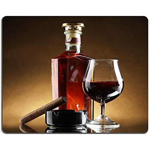 Muismat Mousepad fles en glas cognac en sigaar op bruin