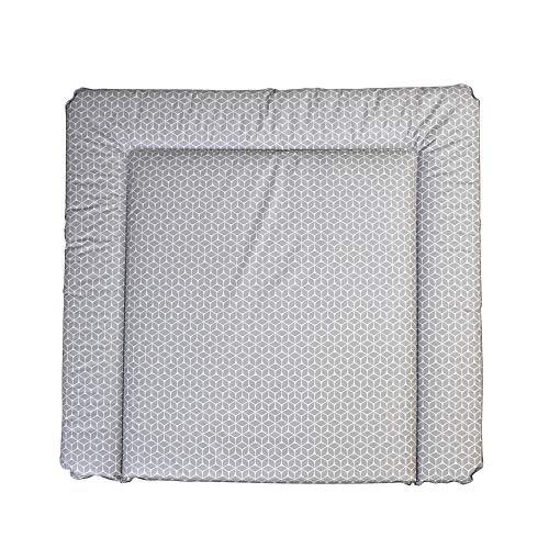 New Swedish Design Wickelauflage 77 x 73 cm, Wickelunterlage für 80 cm Breiten Wickelaufsatz für IKEA Kommoden, z.B. von NSD oder Puckdaddy, schadstofffrei, abwaschbar Raute/Taupe