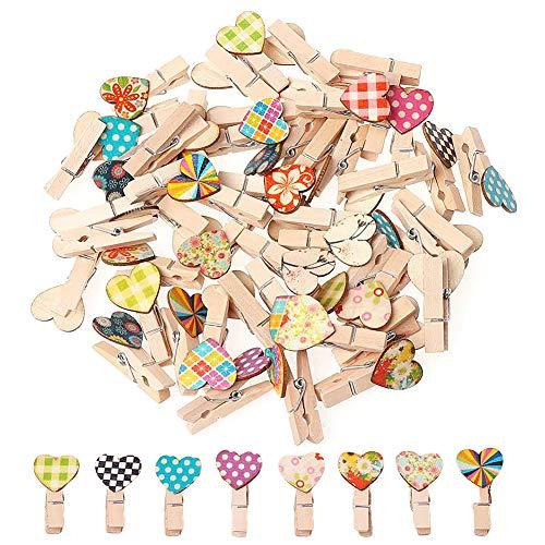 LLMZ Pinzas de Madera Pequeñas 40 Piezas Mini Clip de Madera Clip Decorativas de Madera para Colgar Regalos Color Al Azar