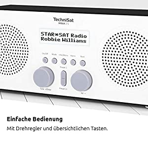 TechniSat VIOLA 2 S - tragbares DAB Radio (DAB+, UKW, Wecker, Stereo Lautsprecher, Kopfhöreranschluss, Aux-In, zweizeiliges Display, Tastensteuerung, 4 Watt RMS) weiß-schwarz