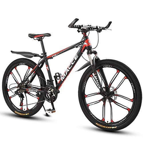 GL SUIT Fahrrad Mountainbike für Erwachsene, 21-Gang, Doppelscheibenbremsen leichten Carbon Stahlrahmen stoßdämpfender Federgabel Hard Tail Mountain Bike,Rot,26 inches