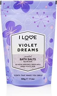 I Love Signature Violet Dreams Natural Bath Salts Containing Natural Fruit Extracts, Muscles, Aches & Pains 500g