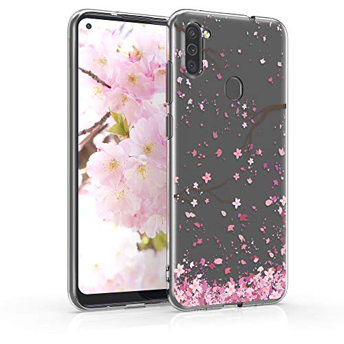kwmobile Hülle kompatibel mit Samsung Galaxy M11 - Hülle Handy - Handyhülle - Kirschblütenblätter Rosa Dunkelbraun Transparent