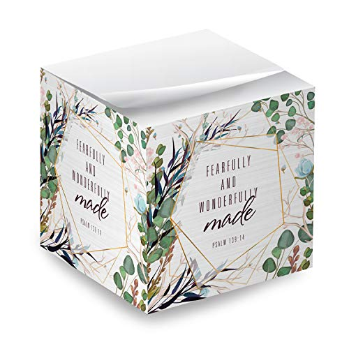 """Religious Sticky Note Cube / 2.75"""" Memo Block Printed On 4 Sides/Modern Floral Christian Design"""