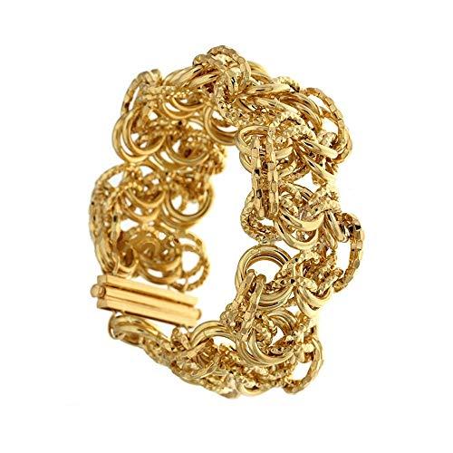 Bracciale In Oro Giallo 18k 750/1000 Modello A Tappeto Lucido Da Donna