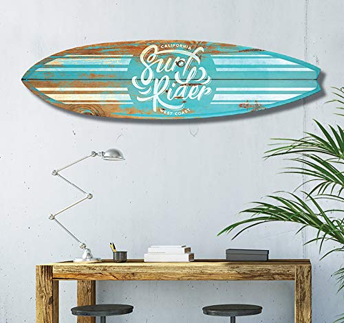 HXA DECO – Tabla de surf para decoración de pared, impresión de motivos de California sobre aluminio dibond, 145 x 40 cm, papel, Surf Blue California, 145x40 Cm, 145x40