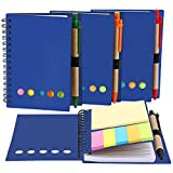TOODOO 4 Packs Spiral Notebook Lined Notepad with Pen in Holder and Sticky Notes, Page Marker Colored Index Tabs Flags (Blue Cover)
