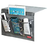 DuomiW Bedside Storage Organizer, Beside Caddy, Table Cabinet Storage Organizer, TV Remote Control, Phones, Magazines, Tablets, Accessories (Grey)