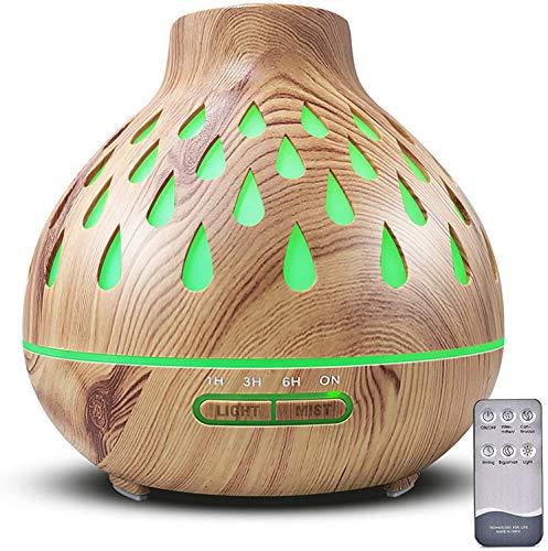 Aroma diffusor (500 ml), Ultraschall befeuchter, Ätherische Öle Diffusor mit Led-Beleuchtung und wasserlose automatische Abschaltung für Büro/Schlafzimmer/Yoga-Raum (Hellbraun)