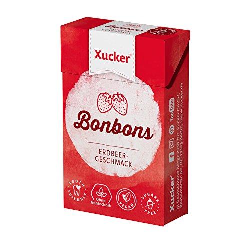 Xucker 50 G Xylit-Bonbons fragola – caramelle per la cura dei denti prive di zucchero – con aroma naturale, ideale per la dieta consapevole di carboidrati – Made in Germany – senza Gentechnik