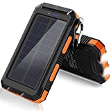 Solar Charger, F.Dorla 20000mAh Portable Outdoor Waterproof Solar Power Bank, Camping External Backup Battery Pack Dual 5V USB...