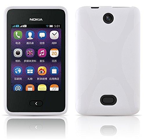 Cadorabo Custodia per Nokia Asha 501 in Bianco Floreale - Morbida Cover Protettiva Sottile di Silicone TPU con Bordo Protezione - Ultra Slim Case Antiurto Gel Back Bumper Guscio