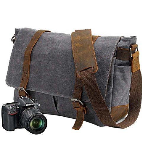 Neuleben Vintage Wasserdicht Kameratasche Aktentasche herausnehmbar Kamerafach Canvas Leder Umhängetasche Fototasche für DSLR Objektiv Laptopfach Update (Grau)