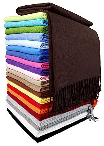 STTS International Baumwolldecke Wohndecke Kuscheldecke Tagesdecke 100% Baumwolle 130 x 170 cm sehr weiches Plaid Rio Braun