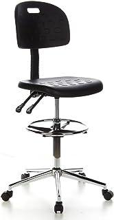 hjh OFFICE 665060 Taburete de trabajo TOP WORK 23, espuma rígida color negro, asiento antideszilante, cómodo, con apoyapiés cromado