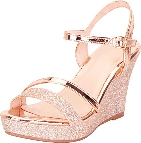 Cambridge Select Women's Strappy Glitter Chunky Platform Wedge Sandal,9 B(M) US,Rose Gold