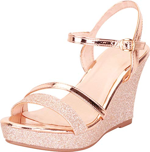 Cambridge Select Women's Strappy Glitter Chunky Platform Wedge Sandal,9 B(M) US,Rose Gold