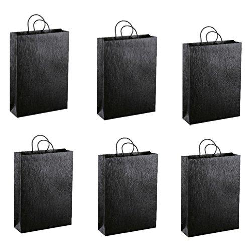 Neutrale Geschenktüten Flaschentüten Geschenktaschen für 3 Flaschen uni schwarz 6-er Pack groß 27 x 38 x 9 cm Celebration
