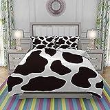 REIOIYE Juego de Funda nordica,Ropa de Cama,Hide of A Cow with Black Spots Abstract and Plain Style Barnyard Life Print,Microfibra,Edredon 220x240cm con 2 Fundas de Almohada 50x80cm
