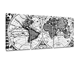 world map poster black and white - ArtKisser Maps World Painting Vintage Decor Poster Picture Old Scratch Framed World Map Printing Canvas Black and White Wall Art Ready to Hang for Living Room 12''x16'' 3 Piece