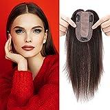 6'(15cm) SEGO Protesis Capilar Mujer Pelo Natural [7 * 13cm Base de Seda] #2 Castaño Oscuro Extensiones de Clip Cabello Humano Remy Human Hair Toppers (27g)