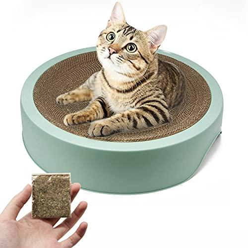 BPS - Tiragraffi per gatti in cartone ondulato incluso erba gatta, tappetino rotondo con supporto, 44 x 10 cm, colore casuale BPS-10517