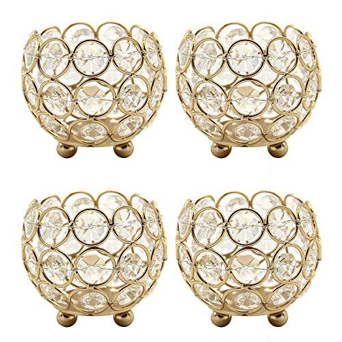 VINCIGANT Teelichthalter Gold, Kristall Kerzenhalter Tischdekoration, goldene deko 4er Set