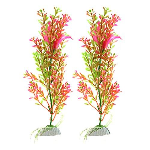 sourcing map 2pcs Rosa Verde Planta de plástico Acuario pecera decoración de Agua Ornamento