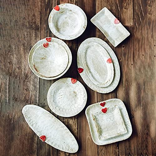 CCAN De vajilla Fina, vajilla de cerámica con Plato Llano, 33 Piezas de vajilla de gres Retro con combinación de vajilla  Cuencos de Cereales Hechos a Mano/Platos de Carne para Regalos de Boda, Cena