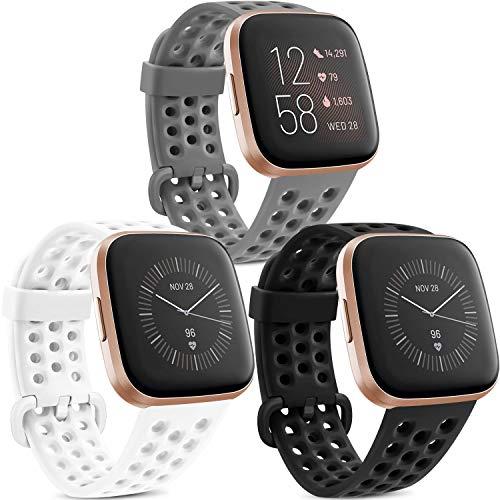 Yandu 3 Pack Kompatible Für Fitbit Versa Armband Fitbit Versa 2 Armband, Atmungsaktiv Sport Verstellbares Ersatzbänder für Fitbit Versa 2 und Fitbit Versa (Schwarz/Weiß/Grau, L)