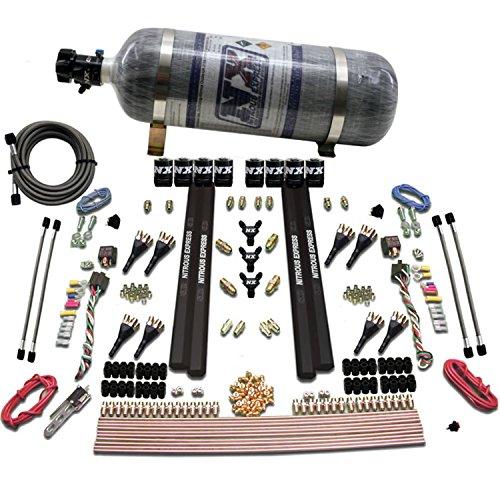 Nitrous Express 90009-12 200-1200 PS 8-Zylinder SX2 Direct Port System mit 8 Magnetspulen und 5,4 kg Verbundflasche