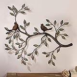 FMXYMC Oiseau Mural Art déco, Une Paire d'oiseaux d'amour sur Les Branches, Sculpture Murale en métal à Suspendre, décoration Murale en Fer forgé rétro, 22,8'x 18,8'