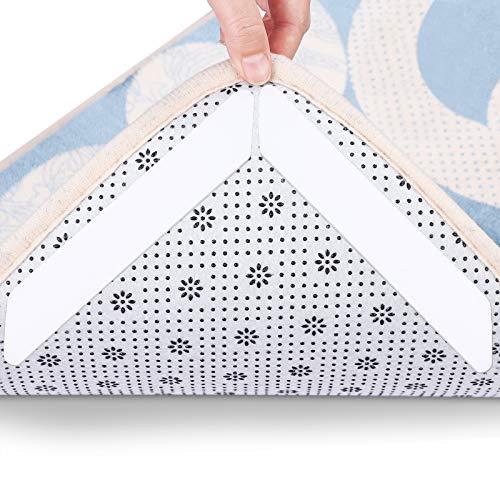 Rutschfeste wiederverwendbare Teppichunterlage, waschbares Teppichband für Hartholzböden, Fliesenböden, Teppiche, Bodenmatten, Wand weiß