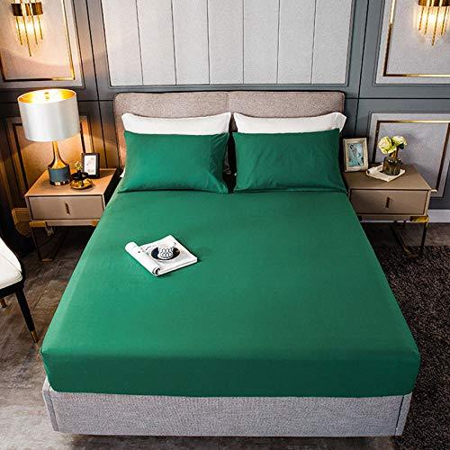 HPPSLT Protector de colchón, algodón, poliéster, Sábana de Cama Color Puro algodón-Bosque Verde_150cm × 190cm
