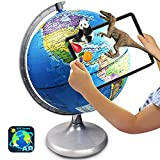 Illuminated World Globe for Kids Learning, 8 Inch Diameter Augmented Reality Interactive AR App Based World Globe for Kids Educational Toys Gift