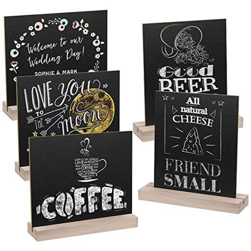 Supvox Tischplatte Tafel Zeichen mit Holz Steht Memo Zeichen für Party Restaurant Hochzeit 5 Sätze