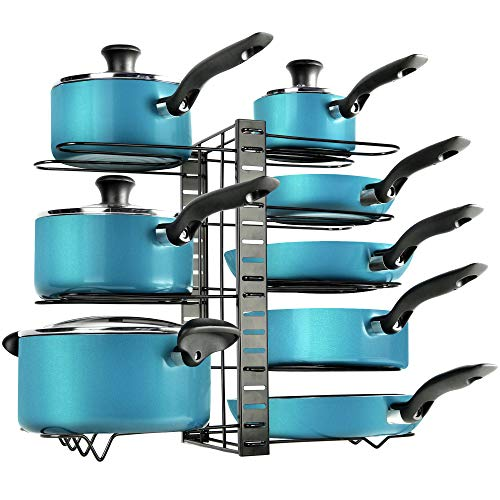 Zulay 8-Tier Pots and Pans Organizer Under Cabinet - Easy 3 Adjustable Method Pan Organizer Rack For Cabinet - Kitchen Pot Organizer Rack For Cabinet For Large & Small Cookware